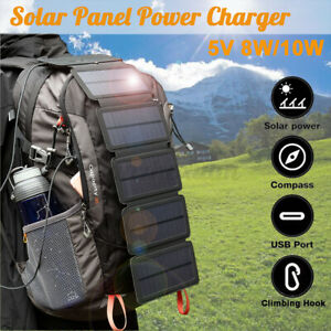 4/5 Folding Solar Power Charger Panel USB Output For Mobile Phone Power Bank
