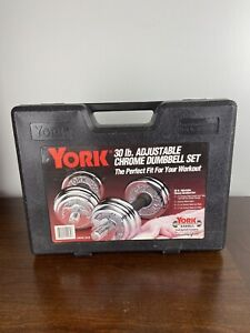 VINTAGE YORK 30 LB ADJUSTABLE CHROME DUMBBELL SET