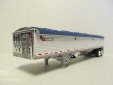 DCP 1/64 SCALE WILSON GRAIN TRAILER (HOPPER BOTTOM)  WHITE  WITH BLUE TARP