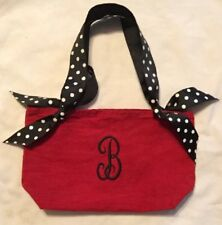 Homemade Purse Tote Bag -Embroidered B on One Side With Ribbon Handles