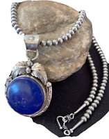 MENS Yazzie Sterling Silver Navajo Pearls Lapis Necklace Pendant 01525