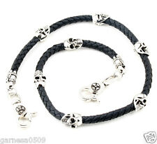 """Skull Leather String EMO Biker Trucker Key Jean Wallet Chain CS83 (29"""") Silver"""