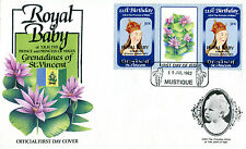 MUSTIQUE 1982 BIRTH OF PRINCE WILLIAM 50c GUTTER PAIR FIRST DAY COVER (b)