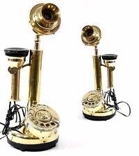 Messing Telefon mit Hänge-Muschel und Wählscheibe 35 cm Funktionsfähig Vintage
