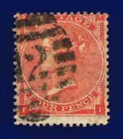 1862 SG79 4d Bright Red J52(1) TI London Foreign Branch 12 G/U Cat £170 cgkb