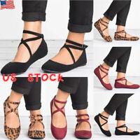 Ladies Ankle Strap Ballerina Womens Flats Court Pumps Summer Comfy Shoes Size US