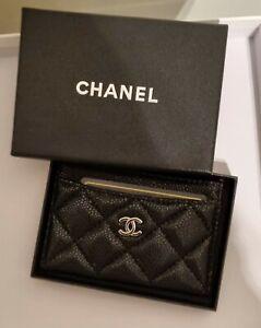Chanel card holder calfskin silver hardware