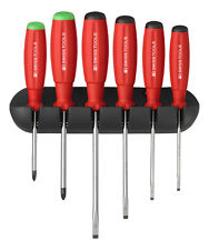 PB Swiss Tools PB 8245 Screwdriver Set Slotted/PoziDriv with Wall Rack SwissGrip