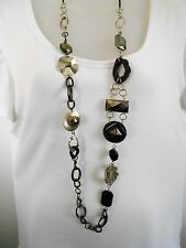 CLEARANCE Pewter and Black Features on Chain Necklace was $18 NOW $10