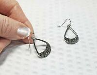 Vintage Gunmetal and Black Druzy Teardrop Dangle Earrings