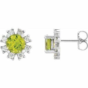 Peridot & 1/2 Karat Diamant Ohrringe Platin