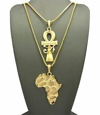 Hip Hop Ankh Cross & Nugget Africa Map Pendant Box Chain 2 Necklace Set RC1745