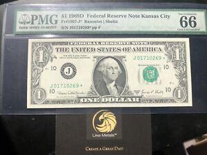 1969 D $1 STAR Note ⭐️ FRN PMG GEM UNCIRCULATED 66 1907-J Kansas Shultz Banuelos