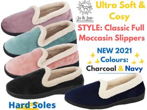 Ladies Jo & Joe Fleece Slip On Hard Sole Cushion Comfort Moccasin Full Slippers