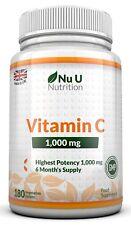 Vitamin C 1000 mg - vitamine C - Cure de 6 Mois/180 comprimés - Compléments al