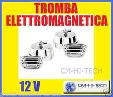 TROMBE CROMATE ELETTRONICHE ELETTROMAGNETICHE 12V UNIVERSALI AUTO FISA CAMPER !!