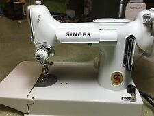 Vintage White Featherweight Singer 221K Sewing Machine