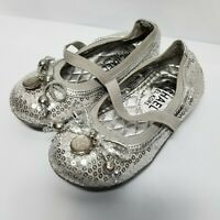 C3 Michael Kors Silver Ballet Flats Toddler Girl's Shiny Dress Shoes, Size 7