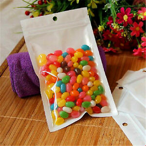 100x White Grip Self Press Seal Resealable Poly Polythene Zip Lock Plastic Bags