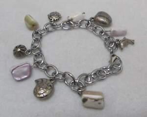 """Vtg 8"""" Silver Tone BEACH Ocean Theme Charm Bracelet Abalone Shell Dangles"""