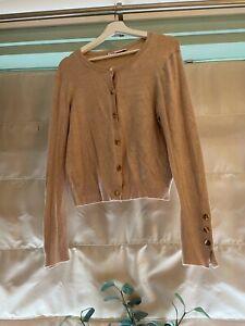 Zara Basics Ladies/woman's Cardigan Camel Colour Size L Gold Buttons
