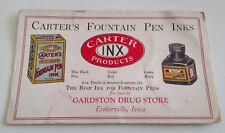 VINTAGE INK BLOTTER FROM GARDSTON DRUG ESTHERVILLE IOWA CARTER'S FOUNTAIN PEN