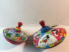 New listing 2 Tops, Vintage 1978 Mickey Mouse Toy Walt Disneyspin Top & 1 Unbranded Working