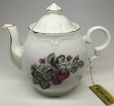 Vintage, Lefton Style. Respberry, Musical Teapot. Porcelain, Music Box.