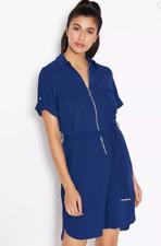 Dorothy Perkins Zip Detail Belted Shirt Dress Blue Size UK18 rrp £32 DH089 SS 04