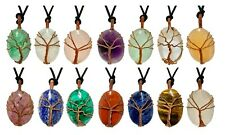 Wisdom Tree Pendant Necklace Crystal Gemstone Handcraft Unique Pieces Jewellery