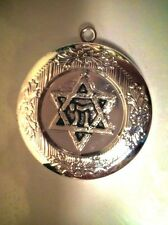 """on 18"""" 925 Sterling Chain Necklace Jewish Star Photo Locket Silver Plate Pendant"""