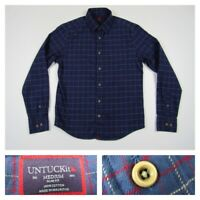 UNTUCKit Mens Blue Button Front Long Sleeve Flannel Plaid Slim Fit Shirt Medium