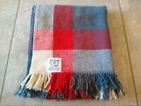 "Faribo Faribault Woolen Mills Blanket Plaid Stadium 49""x59"" Blue Red Grey White"