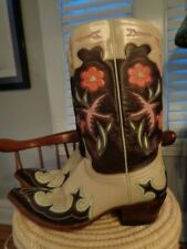 OLD GRINGO 100% leather tooled flowers doves western boots women's size 7 1/2 B