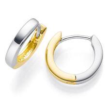 Pequeño Aros Oro 585 Amarillo/Blanco 12x2mm Pendientes Plana Bicolor Mujer