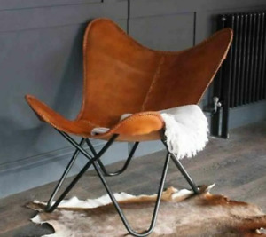 handmade brown vintage cowhide leather chaire