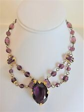 Vintage Art Deco Czechoslovakia Fancy Amethyst Glass Necklace