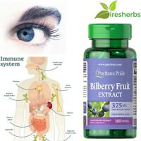 #1 BEST BILBERRY FRUIT EXTRACT 375mg IMMUNE HEALTH SUPPORT EYESIGHT 100 CAPSULES