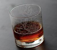 NEW 11 oz Rocks Whiskey Old Fashioned Glass City Map Austin Texas - FREE SHIP