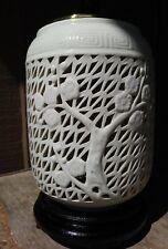 ANT/VINTAGE BLANC DE CHINE JAPANESE/ASIAN LATTICE CARVED LAMP