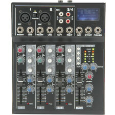 4 Channel PA/DJ Karaoke Mixer–USB/SD Effects Recording FX loop Delay Cross Fade