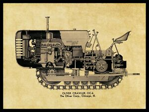 Oliver Tractors NEW Metal Sign: Model OC-6 Crawler Schematic Cutaway View