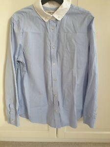 Light Blue White Collared Shirt UK 14 Coach Button Up