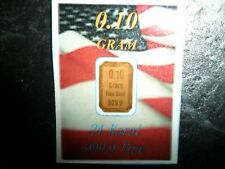 0.1 gram 999.9 Pure 24ct Solid Gold Bullion Bar / Ingot
