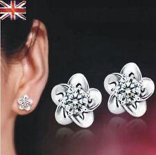Trendy 925 Sterling Silver Crystal Stud Earrings Flower Stud Earrings