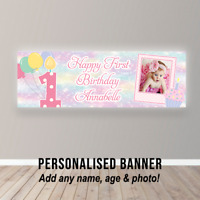 Personalised First 1st Birthday Banner Baby Girl Poster Cake Smash Pink Cup Cake