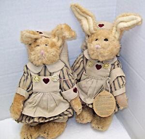 "Set 2  8"" & 9"" Boyds Bears Friends ARCHIVE Emily Babbit Rabbit Nurse Hare #9150"