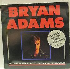"7"" VINYL SINGLE. Straight From The Heart by Bryan Adams. Gatefold Sleeve AMS 322"