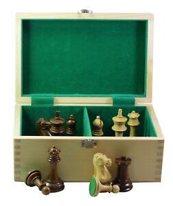 "Paul Morphy Staunton 3.5"" Chessmen in Golden Rose & Box Wood with Storage Box"