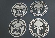 Punisher Totenkopf Aufkleber Silber/Schw. -Vinyl-4X Set-God Will Judge+Army-NEU!